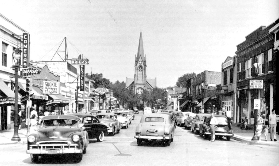 Downtown Skokie looking north from the corner of Oakton and Lincoln (ca 1946)