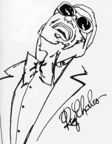 Among the many famous performers who have appeared is jazz pianist/singer Ray Charles, caricatured at the left