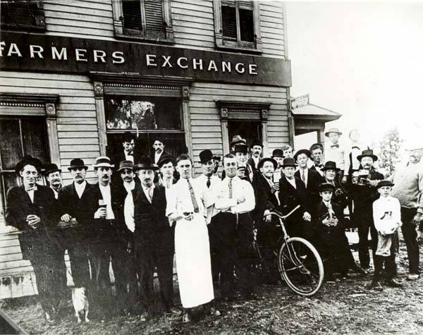 Sharp Corner's famed Farmers Exchange was one of the many saloons at the north end of the village, situated on the southwest corner of Golf and Gross Point Roads