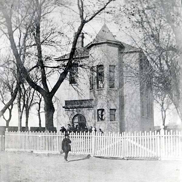 The old Fairview School, the village's first, which was built in 1858 on the southwest corner of Howard Street and Niles Center Road
