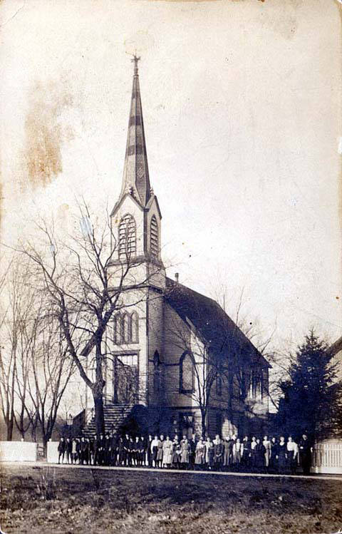 The original Protestant St. Paul's Lutheran Church, which was dedicated in June 1881 and replaced in 1910 by the present church which is at 7870 Niles Center Road