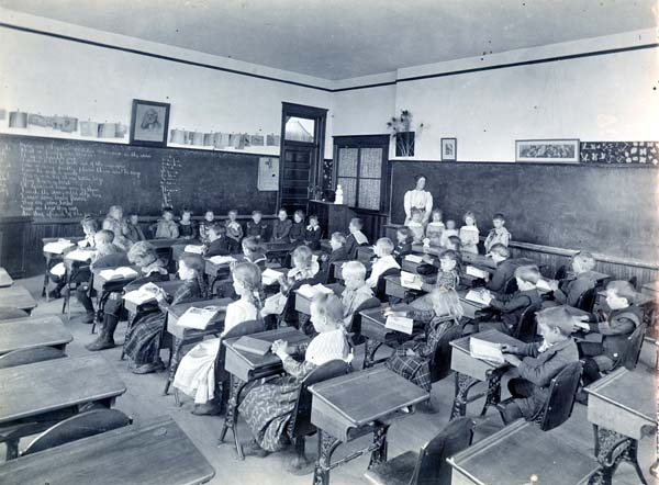 Students are hard at work in this 1901 photo inside the Niles Center Public School