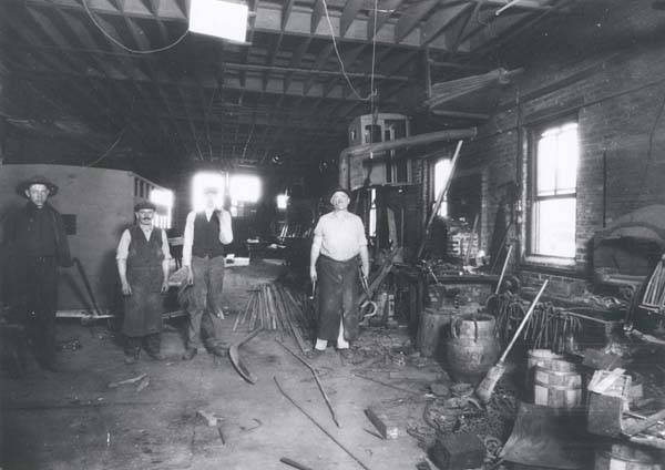 A view inside Fred Schoening's blacksmith shop about 1926.  The building itself still stands at 7880 Lincoln Avenue.