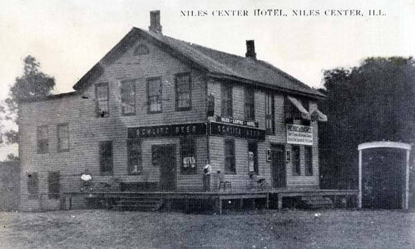 The Niles Centre Hotel, replete with saloon, located on today's southeast corner of Oakton and Lincoln, was the site of this pre-Prohibition picnic and dance.